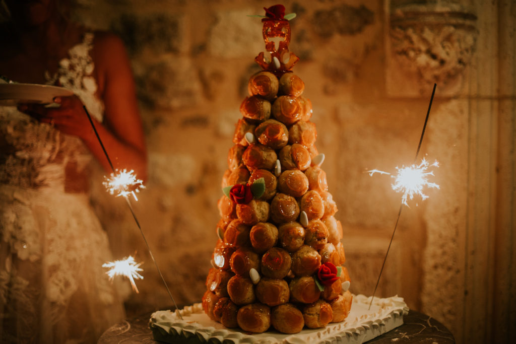 french wedding cake ideas - croquembouche tower at Impeccable Pear wedding