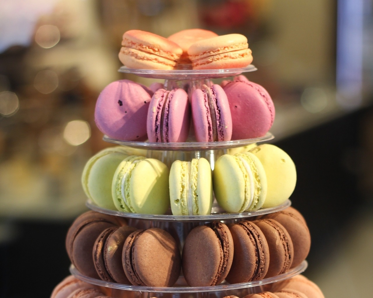 french wedding cakes - macarons in assorted colours