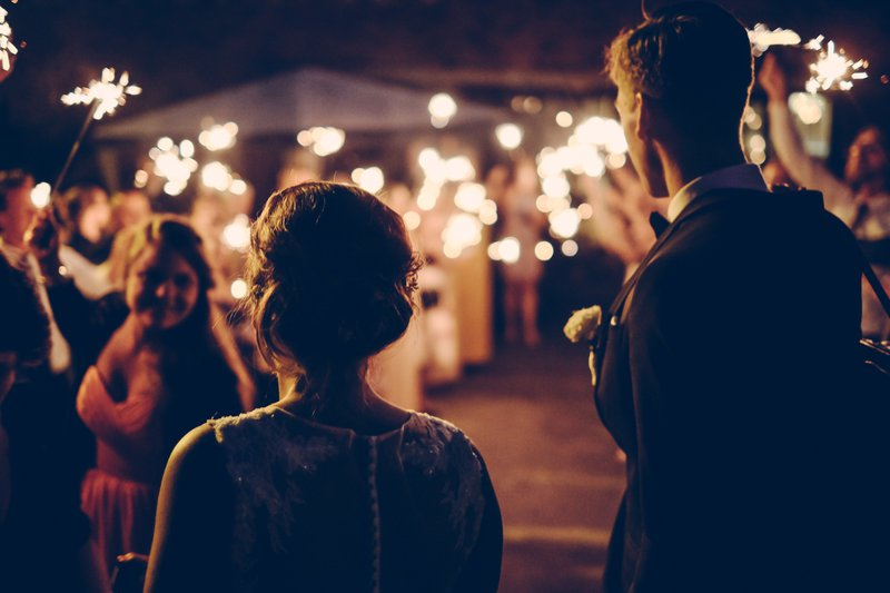 wedding outdoor lighting and sparklers
